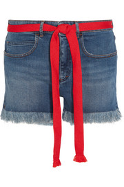 Sonia Rykiel Grosgrain-trimmed embroidered frayed denim shorts