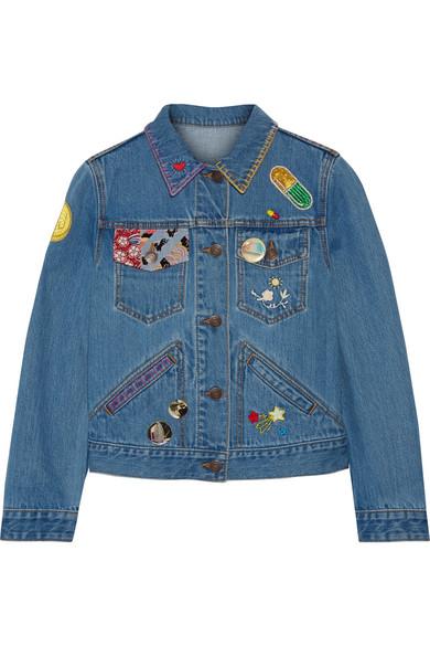marc jacobs female marc jacobs embellished denim jacket mid denim