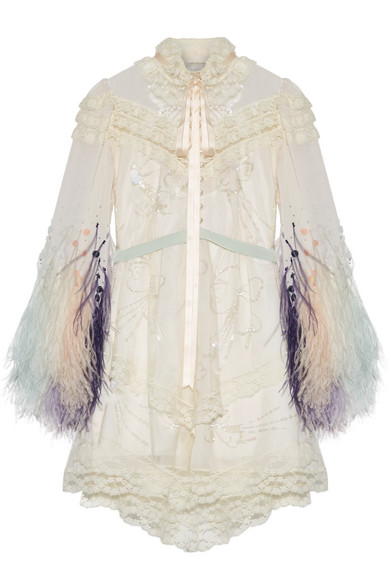 Marc Jacobs - Lace-trimmed Embellished Tulle And Chiffon Mini Dress - Ivory