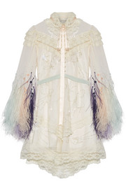 Marc Jacobs Lace-trimmed embellished tulle and chiffon mini dress