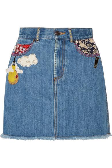 marc jacobs female marc jacobs embellished frayed denim mini skirt mid denim