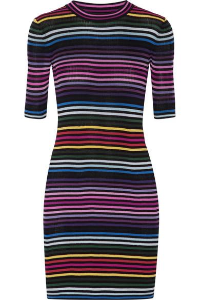 Marc Jacobs - Striped Ribbed Cotton Mini Dress - Black