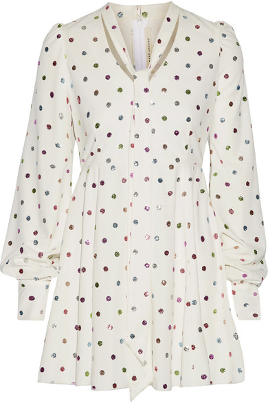 marc jacobs female marc jacobs pussybow glittered polkadot cady mini dress white