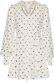 Marc Jacobs Pussy-bow glittered polka-dot cady mini dress