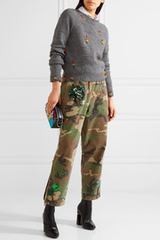 Marc Jacobs Bead-embellished distressed wool and cashmere-blend sweater