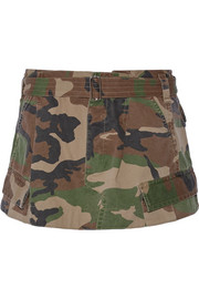 Camouflage-print cotton-twill mini skirt