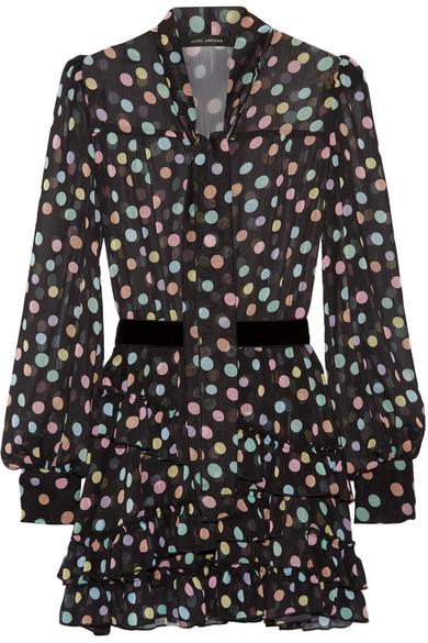 marc jacobs female marc jacobs belted polkadot chiffon mini dress black