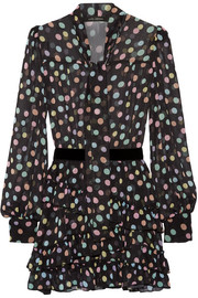Marc Jacobs Belted polka-dot chiffon mini dress