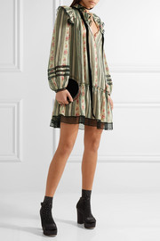 Point d'esprit-trimmed printed cotton and silk-blend gauze mini dress