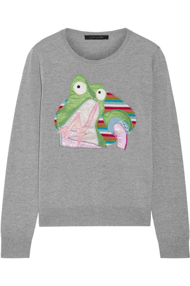 marc jacobs female marc jacobs appliqued wool sweater gray