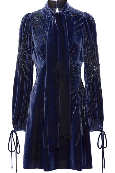 Marc Jacobs - Pussy-bow Embellished Velvet Mini Dress - Storm blue