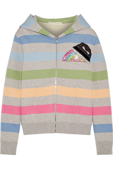 marc jacobs female marc jacobs appliqued striped jersey hooded top gray