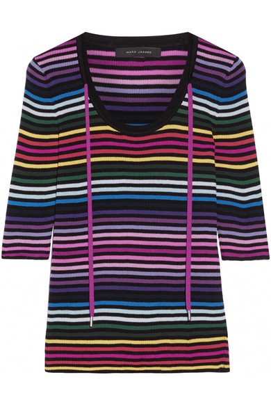 marc jacobs female marc jacobs striped ribbed cotton top pink