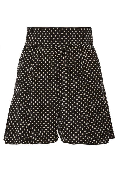 marc jacobs female marc jacobs pleated polkadot silk crepe de chine shorts black