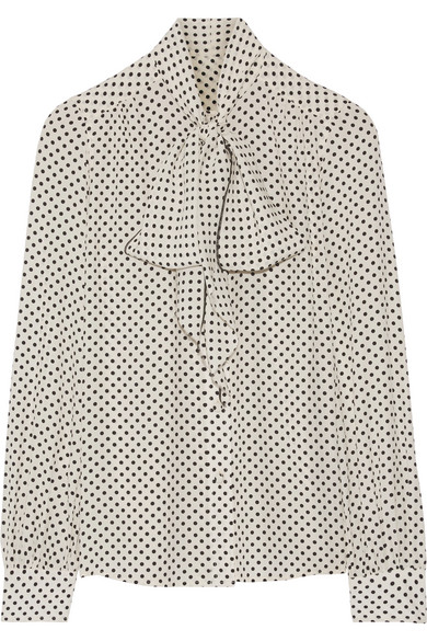 Marc Jacobs - Pussy-bow Polka-dot Silk Crepe De Chine Blouse - Off-white