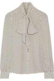 Marc Jacobs Pussy-bow polka-dot silk crepe de chine blouse