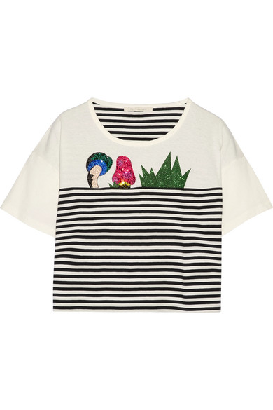 marc jacobs female marc jacobs embellished striped cottonjersey tshirt white