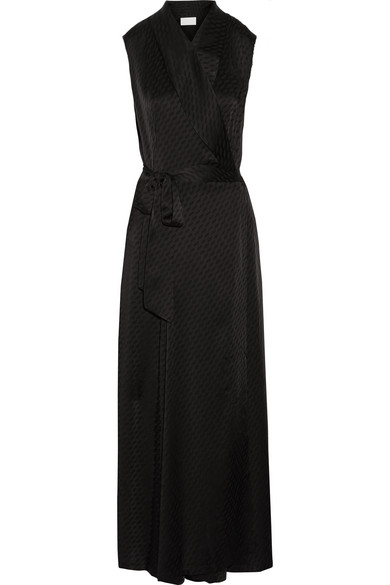 Maison Margiela - Satin-jacquard Wrap Maxi Dress - Black