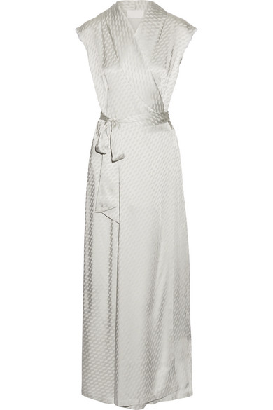Maison Margiela - Satin-jacquard Wrap Maxi Dress - Silver
