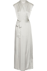 Satin-jacquard wrap maxi dress