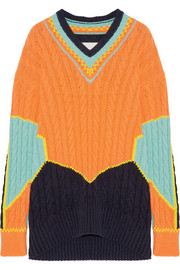Oversized color-block cable-knit cotton-blend sweater