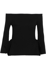 Roland Mouret Cartwright off-the-shoulder ribbed-knit top