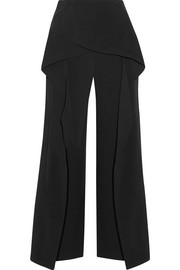 Roland Mouret Caldwell cropped layered stretch-crepe wide-leg pants