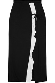 Brantley two-tone crepe de chine midi skirt