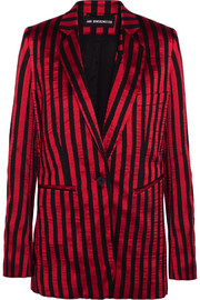 Striped satin and twill blazer