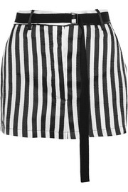 Striped satin-twill mini skirt