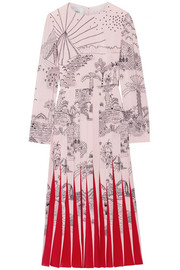 Valentino Pleated printed silk crepe de chine midi dress