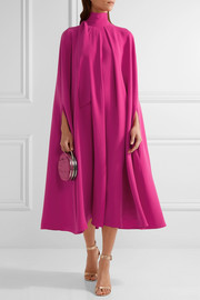 Valentino Cape-effect silk-cady midi dress