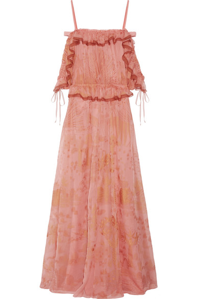 Valentino Woman Off-the-shoulder Ruffled Printed Silk-chiffon Gown Antique Rose Size 44 Valentino wMdeWY