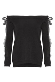 Valentino Off-the-shoulder silk chiffon-trimmed cashmere sweater