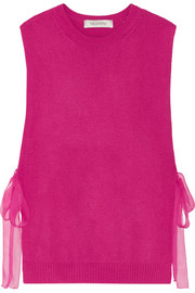 Tie-side silk chiffon-trimmed cashmere top