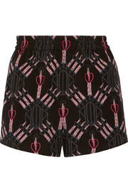 Love Blades printed silk crepe de chine shorts