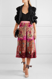 Valentino Pleated printed silk crepe de chine midi skirt