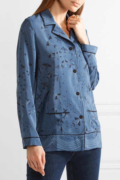 VALENTINO Swallow Metamorphosis Printed Silk Crepe De Chine Shirt