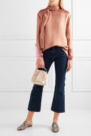 Valentino Silk chiffon-trimmed hammered-satin blouse