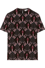 Valentino Love Blades printed silk crepe de chine top