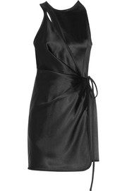 Wrap-effect cutout satin mini dress