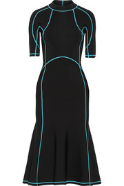 Lace-up stretch-knit midi dress