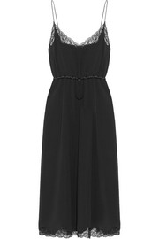 Lace and satin-trimmed crepe midi dress