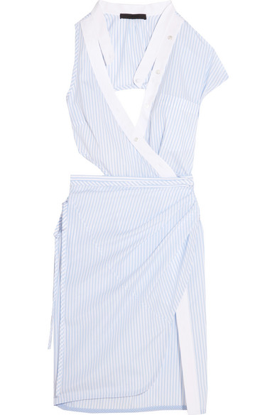 Alexander Wang - Cutout Striped Cotton-poplin Wrap Dress - White