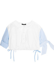 Alexander Wang Cropped striped cotton-poplin top