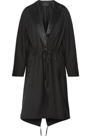 Silk satin-trimmed wool and mohair-blend parka