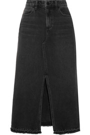 Alexander Wang Distressed denim midi skirt