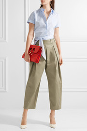 Cropped pleated twill tapered pants