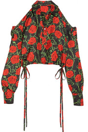 Alexander Wang Cropped cold-shoulder floral-print silk-twill top