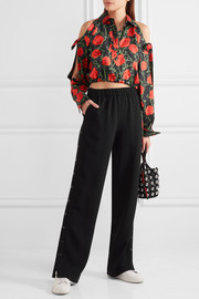 Cropped cold-shoulder floral-print silk-twill top